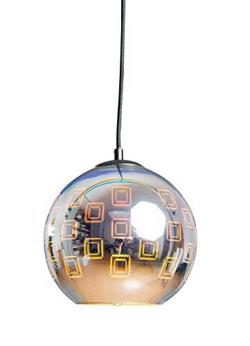 anTes interieur Hängeleuchte Dimensia mit 3D Effekt 20 cm Ø Chrom (Pendelleuchte Hängelampe Deckenlampe Pendellampe Deckenleuchte)