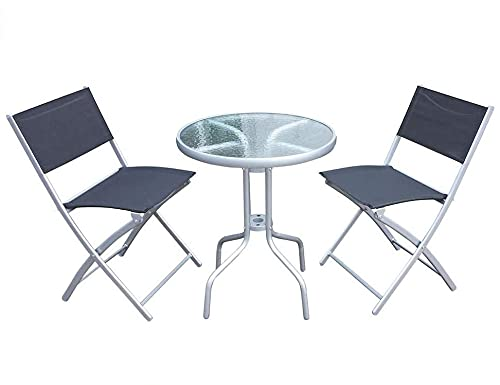 My Garden Panama Patio Table and Chairs - Modern 3 Piece Garden Furniture Set with Toughen Glass Garden Table and 2 Foldable Chairs