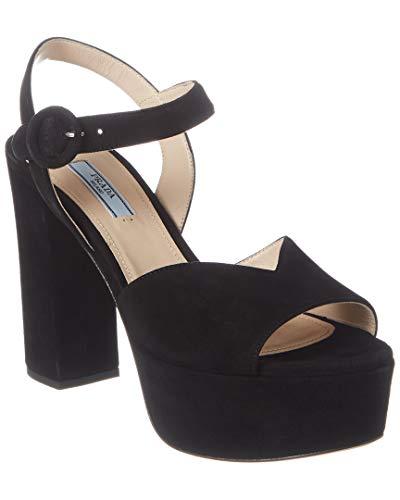 Prada Suede Platform Sandal, 35, Black