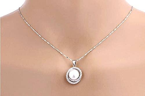 GYUFU Collar de Regalo para Mujer S925 Colgante de Plata Esterlina Collar de Perlas de Doble Círculo Simple para Mujer, Cadena de Clavícula Vacía de Moda Y Versátil, Accesorios con cadena, Plata 925