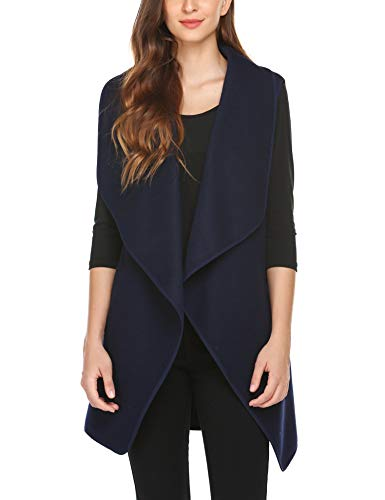 Beyove Damen Weste Jacke Casual Revers Vorne Offene Mantel Ärmellos Outwear Coat Tanktops mit Taschen Herbst Winter (XL, Dunkelblau)