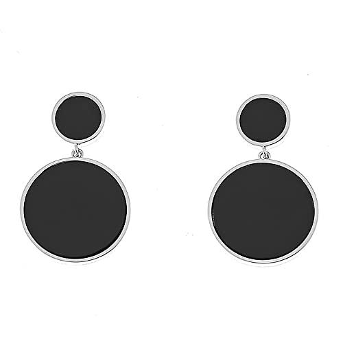 Brincos redondos de concha de agulha de prata 925 com acabamento brilhante (a pérola negra)