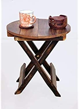 SZHC Beautiful Wooden Small Folding Table | Bedside Table (Brown)