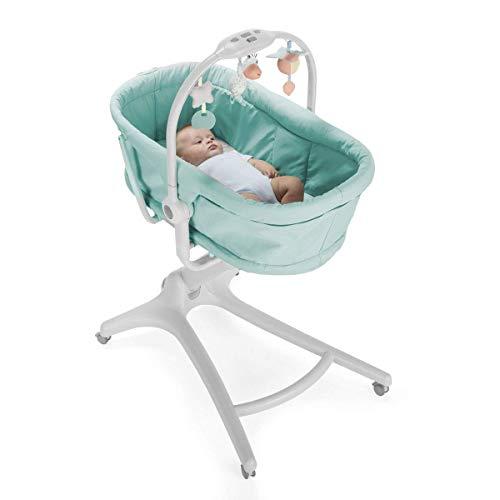 VBARV 4 en 1 Cesta para Dormir para bebés Silla de Comedor reclinable, Cuna + sillón reclinable (0-6 Meses), Trona + Primera Silla (6-36 Meses), Ruedas Ajustables prácticas Ajustables en Altura