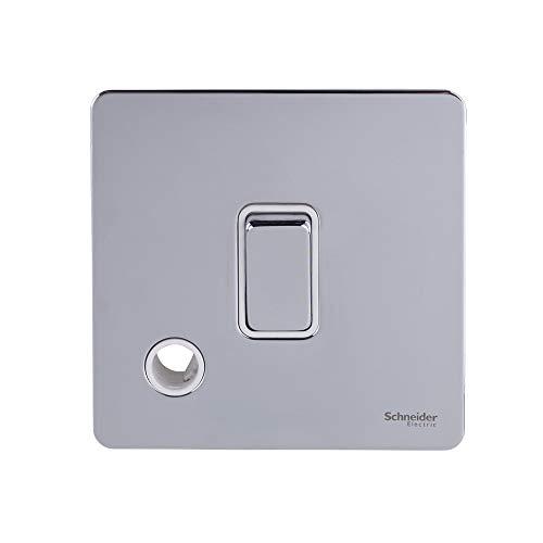 Schneider Electric Ultimate Placa plana sin tornillos, interruptor de luz único con salida flexible, doble poste, 20AX, GU2413WPC, cromo pulido con inserto blanco
