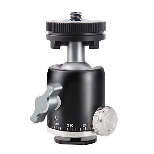 MENGS FS-02 1/4' Mini Multifunktions Stativkopf Panorama Kugelkopf mit Blitzschuh/kalter Schuhadapter für LED Licht, Monitor, DSLR Kamera