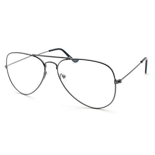 Newvision NV8132 - Gafas de lectura con montura de metal y diseño de aviador retro +1.50 titanio