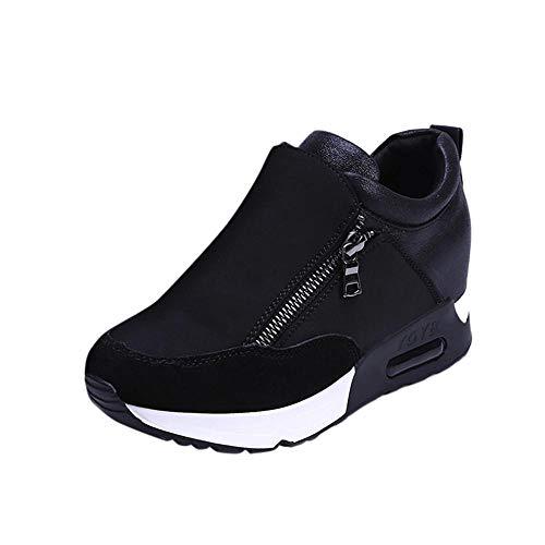VJGOAL Damen Freizeitschuhe, Damen Mode Runde Kappe Sport Laufschuhe Sneakers Casual Zip Wandern Dicke Untere Plattform Winterschuhe (Schwarz, 39 EU)