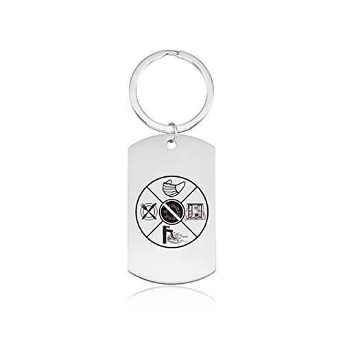 Blumery Main Porte-clés géométrique Porte-clés en Acier Inoxydable Porte-clés Pendentif personnalisé personnalisé pour Homme, Couple Porte-clés en Forme de Coeur