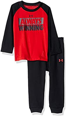 Under Armour Boys' Baby Two Piece Graphic Tee and Pant Set, red Always Winning, 24 Months