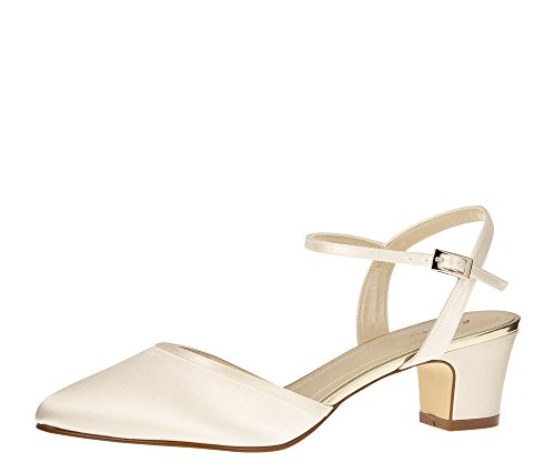 Rainbow Club Brautschuhe Emili - Pumps Sandale - Ivory Satin Blockabsatz - Gr 41 EU 8 UK