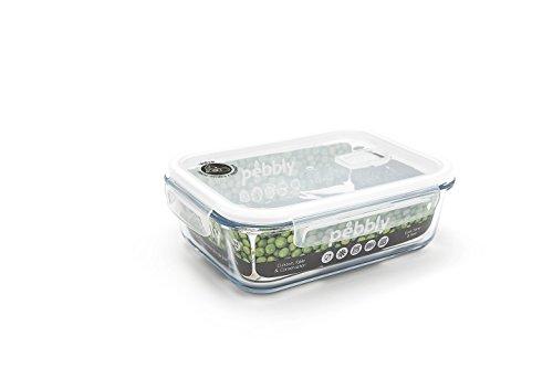 Pebbly PKV-1500RB Plat/Boîte rectangulaire en verre 1500 ml, Transparent