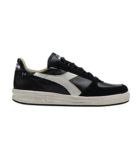 Diadora Heritage, Uomo, B. Elite H Leather Dirty, Pelle/Suede, Sneakers, Nero, 42