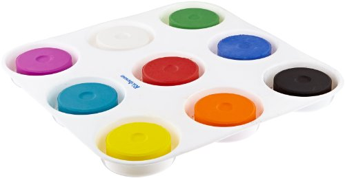 Sax Non-Toxic Giant Tempera Paint Cakes with Tray - 2 1/4 x 3/4 inch - Set of 9 - Assorted Colors - 402321