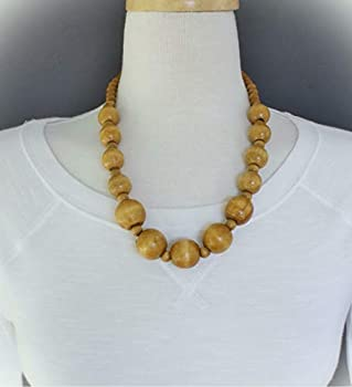 Brown Wood Necklace Bead Big Chunky Bead 21-23  Long Necklace Beaded Wooden For Women