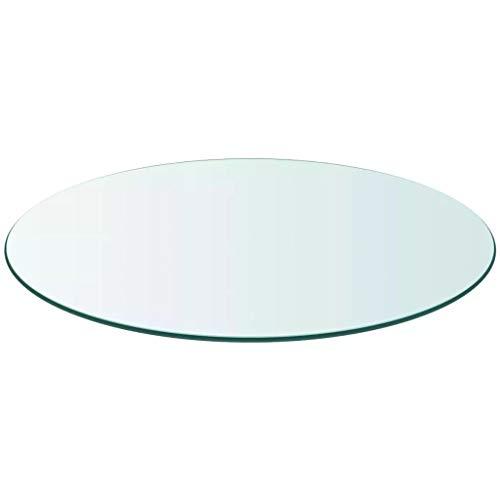 Wakects - Mesa de Cristal Templado, Redonda, de Gran tamaño, Resistente, para...