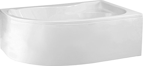 Aqualuxbad Badewanne Wannen 170 x 110 cm | Rechts inkl. Wannenfuß und Ablaufgarnitur Viega Automat, Schürze:mit Schürze