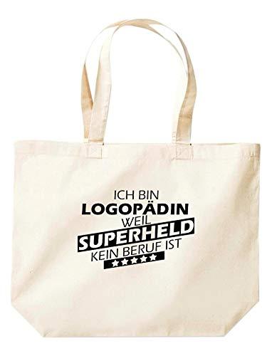 Shirtinstyle Beutel Tasche Ich bin Logopädin weil Superheld kein Beruf ist, Ausbildung Abschluss, Jute, Shopper, Beutel, Farbe Natur