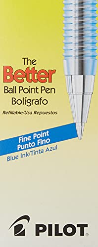 PILOT The Better Ball Point Pen Refillable Ballpoint Stick Pens, Fine Point, Blue Ink, 12-Pack (36011), Dozen Box (0.7mm - Fine)