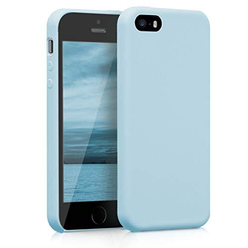 kwmobile Funda Compatible con Apple iPhone SE (1.Gen 2016) / 5 / 5S - Funda Carcasa de TPU para móvil - Cover Trasero en Azul Claro Mate