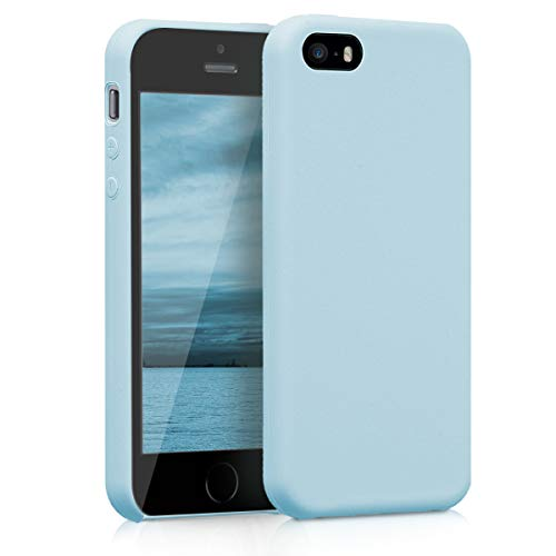 kwmobile Funda Compatible con Apple iPhone SE (1.Gen 2016) / 5 / 5S - Carcasa de TPU para móvil - Cover Trasero en Azul Claro Mate
