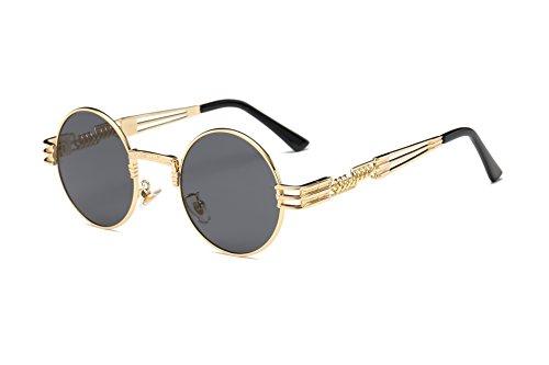 Dollger John Lennon Vintage Steampunk Sonnenbrille Frauen Männer Runde Hippie Sonnenbrille UV400 Metallrahmen(Schwarzes Objektiv / Goldrahmen)