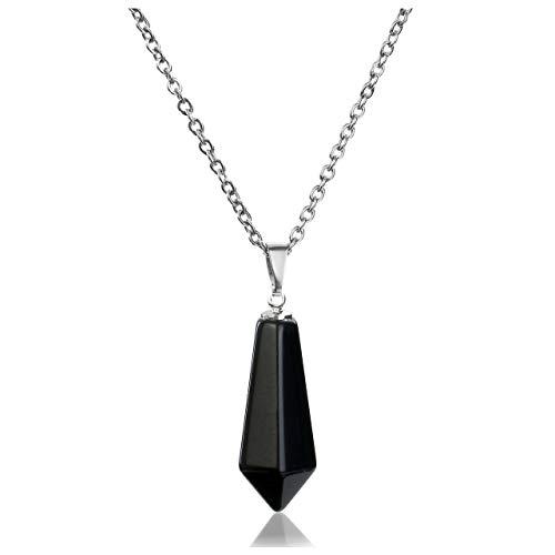 JOVIVI Women Black Obsidian Crystal Gemstone Hexagonal Pointed Necklace Men...