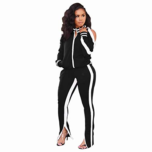 ZJFZML Sport Suit for Women Soft Fitness Pullover Sweatshirt Flowy Work Bussiness Appreal Casual Shirts Plus Outfit Light Weight Crop Top Sweatpants 2 Piece Tracksuit Set Black L