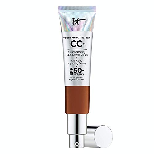 IT Cosmetics Your Skin But Better CC+ Cream, Deep (N) - Color Correcting Cream, Full-Coverage Foundation, Anti-Aging Serum & SPF 50+ Sunscreen - Natural Finish - 1.08 fl oz