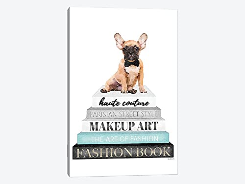 Grey Books With Teal, Fawn Frenchie Frame Wall Art Canvas Paingting Home Decor For Living Room,Bedroom 16x16inch