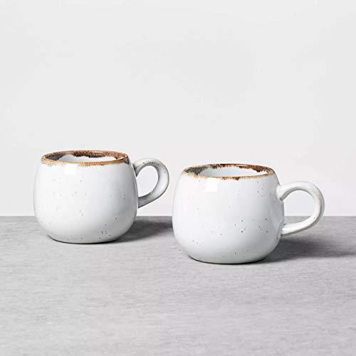 Set of 2 Small Round Reactive Glaze Mug Light Sour Cream - Hearth & Hand with Magnolia