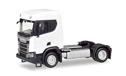 Herpa 309011 Scania CR XT Flachdachkonstruktion Sattelauflieger 2-Achse, weiß