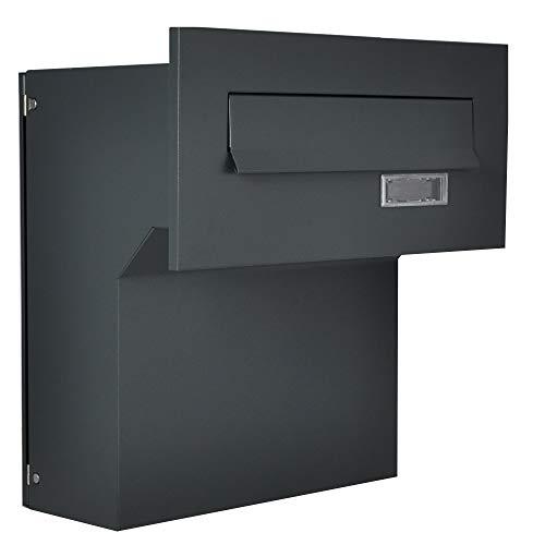 Mauerdurchwurf Briefkasten Anthrazitgrau matt C4 190-260 [mm] Anthrazit 3 Schlüssel