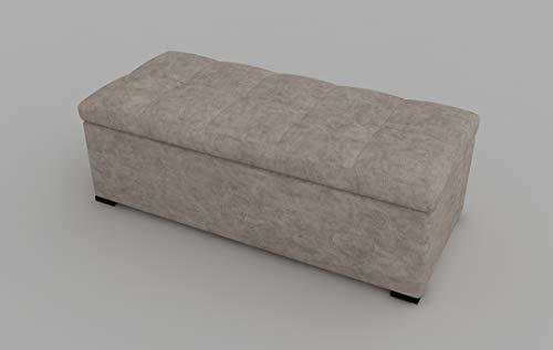 moebel17 5583 Albatros Sitzbank mit Stauraum, gepolsterte Truhenbank, Aufbewahrungsbox, Schuhbank, Kunststofffüße, Beige, 76 x 40 x 38 cm