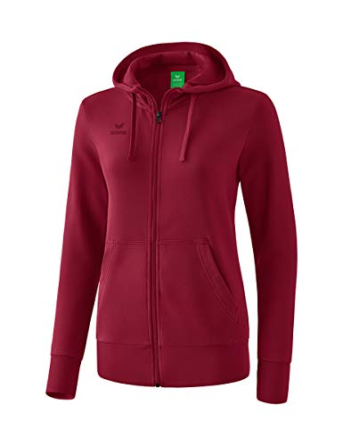 Erima Damen Basic Kapuzensweat Jacke, Bordeaux, 34