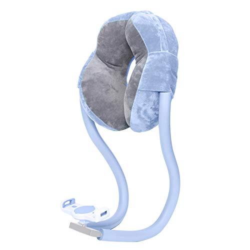 Gazechimp Almohada de Cuello de algodón PP en Forma de U para Coches Aviones reposacabezas de Viaje almohadón de Dormir Suave con Soporte para teléfono Tableta - Azul