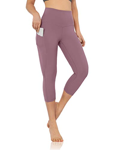 ODODOS Women's High Waisted Yoga Capris with Pocket, Workout Sports Running Athletic Capris with Pocket, Lavender,Medium