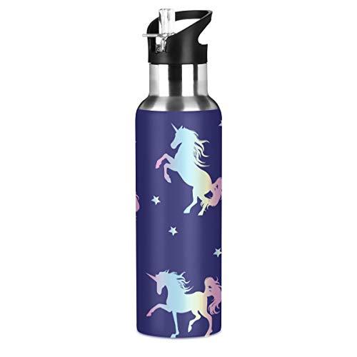 RURUTONG Botella de agua Unicornio de acero inoxidable aislada, 2010025, mantiene líquidos calientes o fríos con boca ancha y pajita para fitness, gimnasio, camping, deportes al aire libre 2010025