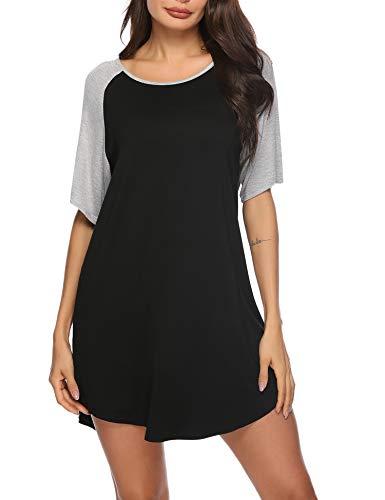 Aibrou Chemise de Nuit Coton Courte Robe de Nuit Ete Ample Manche Courte Col Rond T Shirt de Nuit Femme pour Maison Quotidienne Dormir Gris Clair XXL