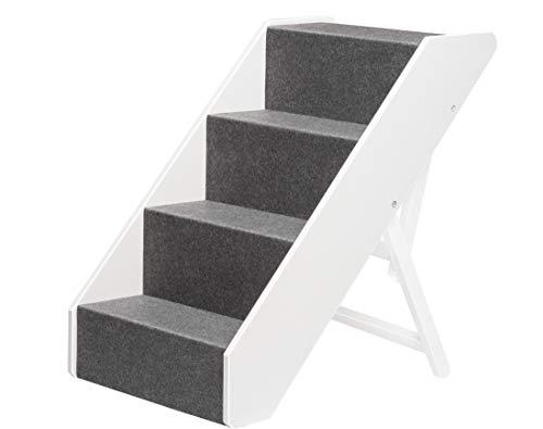 UPP Hundetreppe Premium | Massiv aus FSC Holz und höhenverstellbar| 4-stufige Treppe für Hunde bis 70 kg | Klappbare Hunderampe für Auto und Innenbereich [Weiß]