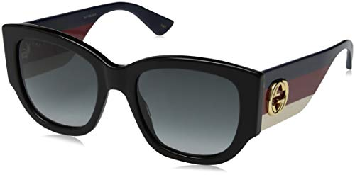 Model: Sensual Romantic; GG0276S Style: Fashion Retro Square Frame/Temple Color: Black/Red/Ivory - 001 Lens Color: Grey Gradient Size: Lens-53 Bridge-20 Temple-145mm Gender: Women's Made In: Italy