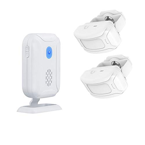 Wireless PIR Motion Sensor Detector Security Alarm Chime,Shop Store Office Home Front Door Entry Welcome Doorbell,Mailbox Alert, Garage Driveway Alarm,with Night Light (1 Receiver and 2 PIR Detectors)