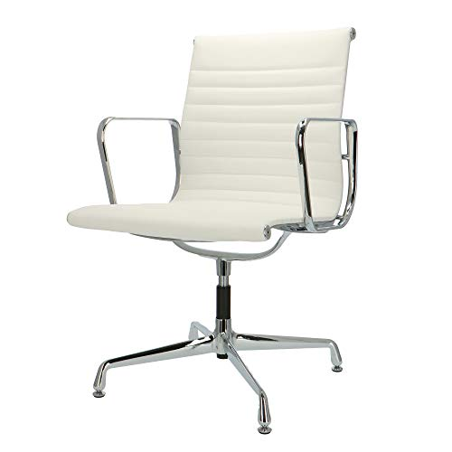 Popfurniture Eames Bureaustoel, managersstoel, bureaustoel van kalfsleer, in hoogte verstelbaar