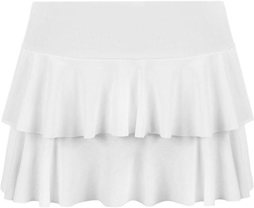 WearAll - Neu Damen RARA Mini Rock Kurz Skirt - Weiß - 36-38