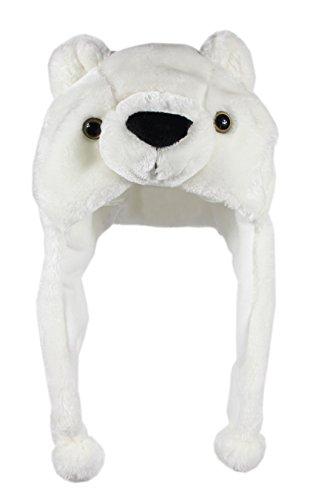 Bioterti Plush Fun Animal Hats –One Size Cap - 100% Polyester with Fleece Lining (White Bear)