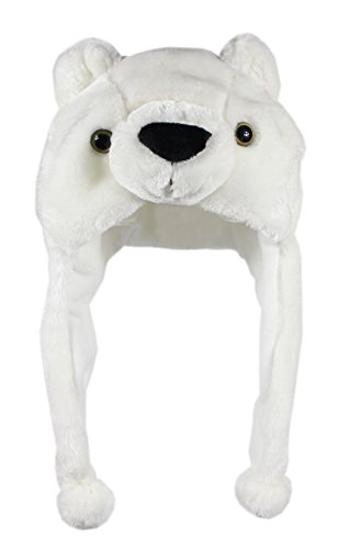 Bioterti Plush Fun Animal Hats –One Size Cap - 100% Polyester with Fleece Lining (White Bear)