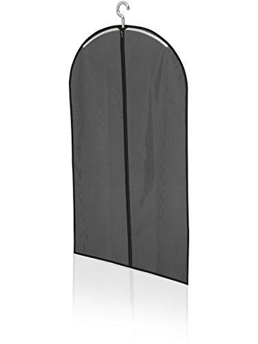 Leifheit Kleiderhülle kurz, für saubere und staubfreie Wäsche, Kleidersack aus engmaschigem Stoff, abwaschbarer und atmungsaktiver Anzugsack, ideal für Hemden, Blusen und Sakkos, schwarze Schutzhülle