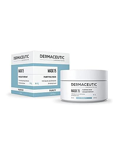 Dermaceutic Mask 15 - Mascarilla facial que controla la grasitud y el sebo - Mascarilla de arcilla de bentonita, ácido glicólico y ácido salicílico - Limpieza profunda de poros - 50 ml