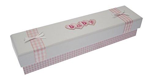 Blanc Coton Cartes d'acte de naissance (Cœur Rose lettres)