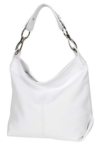 AmbraModa GL033 - Damen echt Ledertasche Handtasche Schultertasche Henkeltasche Beutel (Weiß)